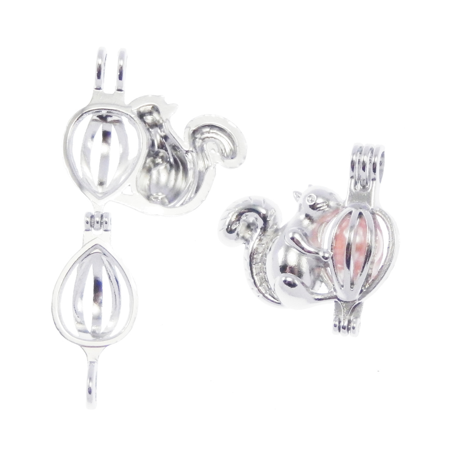 1 Piece White K Plated Alloy Hollow Fish Shaped Locket Pendants Jewelry 29*21mm