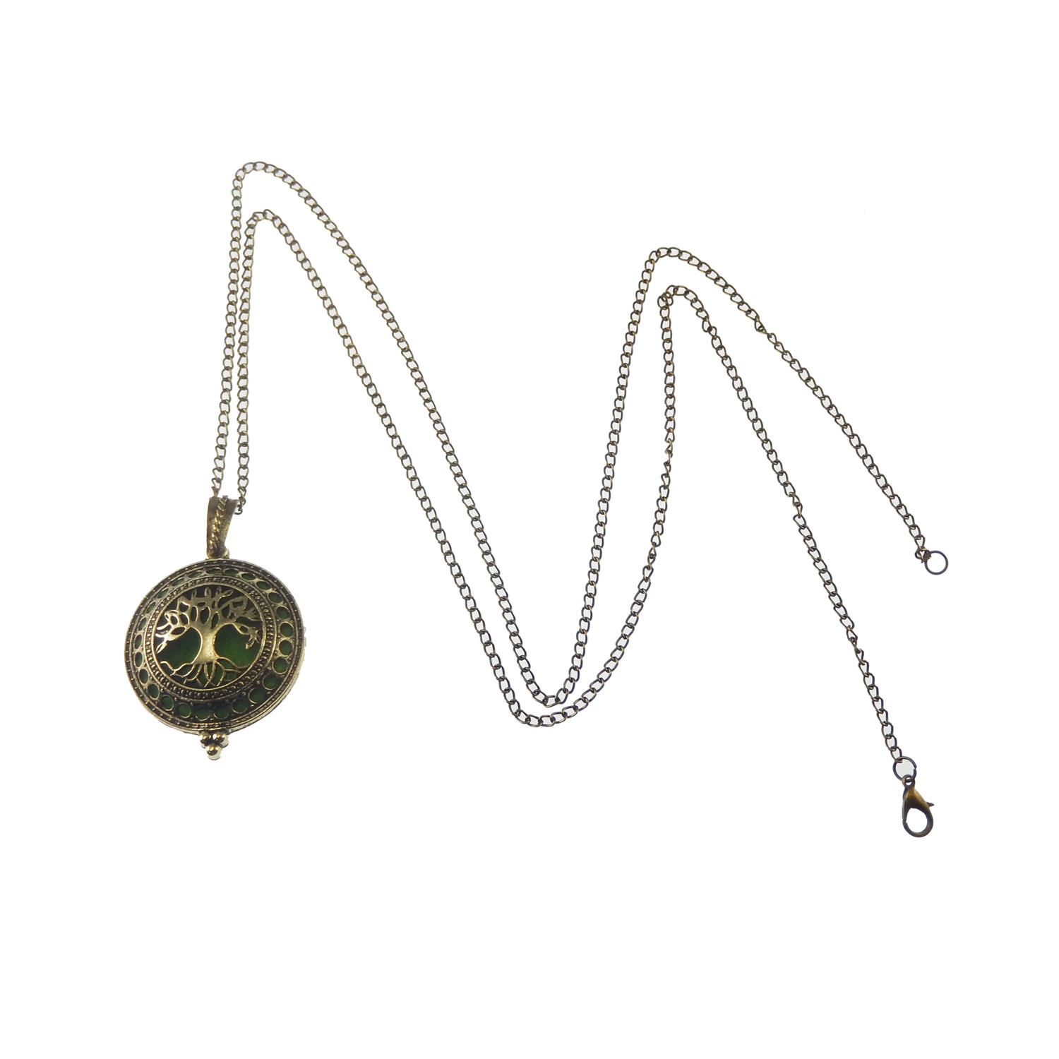 70cm Silver Round Hollowed Lockets Necklace Pendants Aromatherapy Oil Diffuser