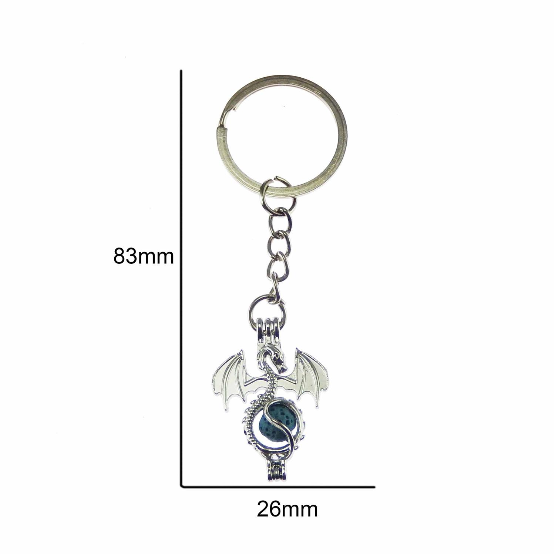 1pcSilver Dragon Look  Cage w// Lava Bead Metal Alloy Pendant Key Ring Key Chain