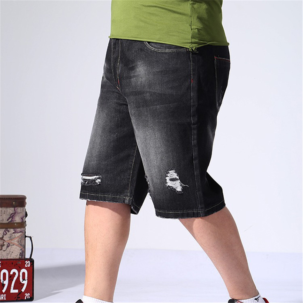Mens Classic Black Ripped Jeans Shorts Cotton Cargo Baggy Pants Loose Fit