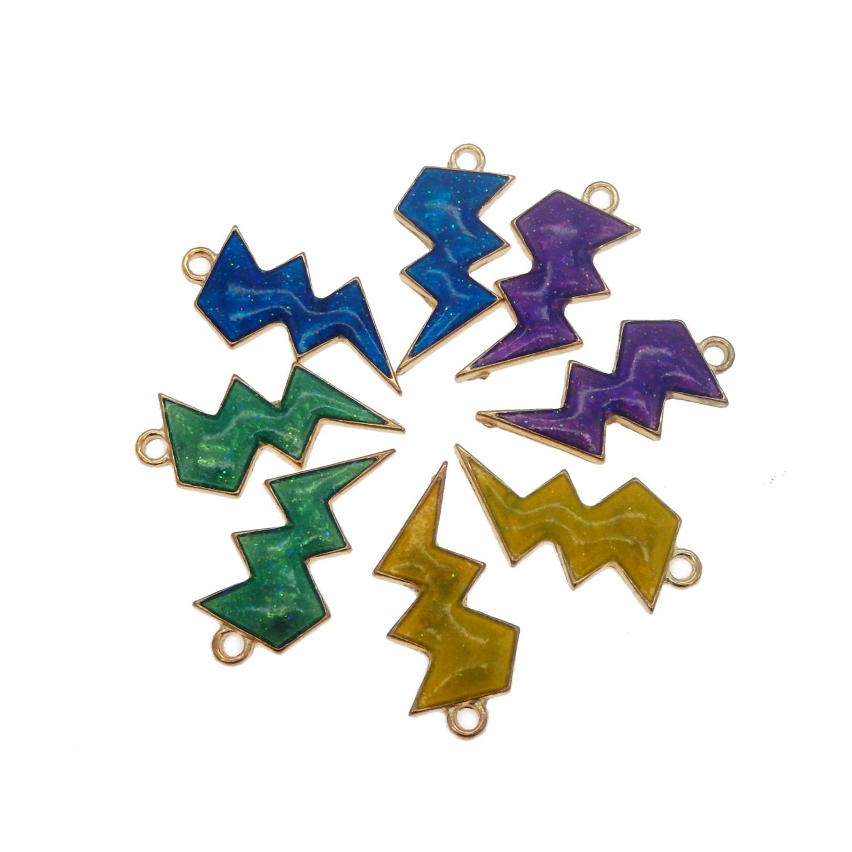 8 pcs Assorted Mix Colorful Enamel Metal Lightning Symbol Charm Pendant Findings