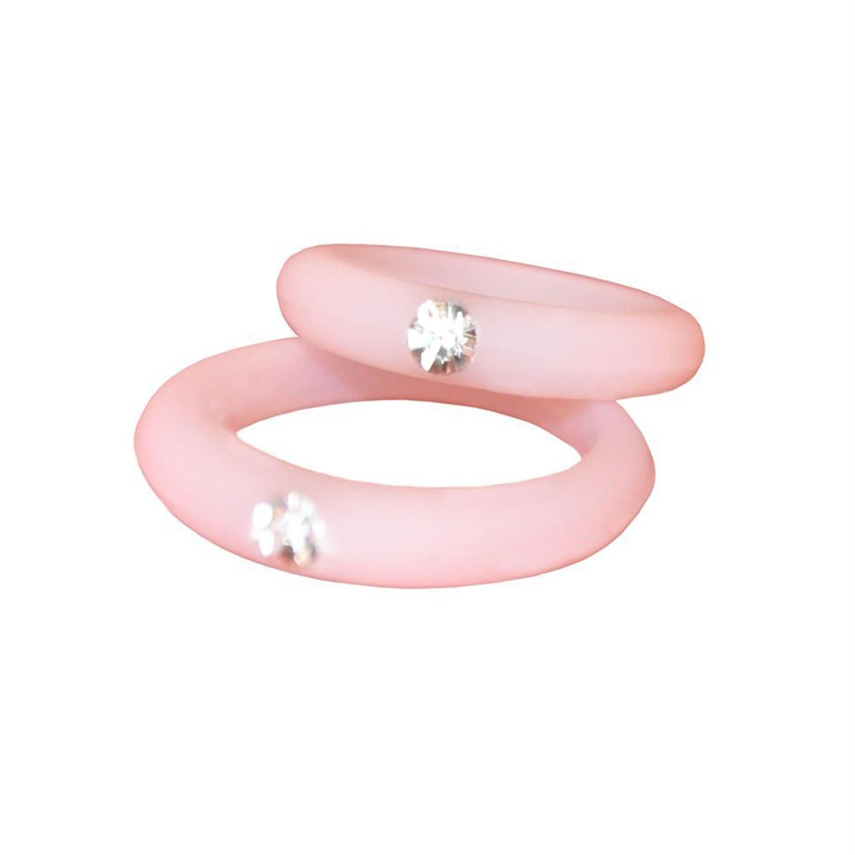 Men Women Silicone Wedding Ring With Rhinestone Flexible Causal ...