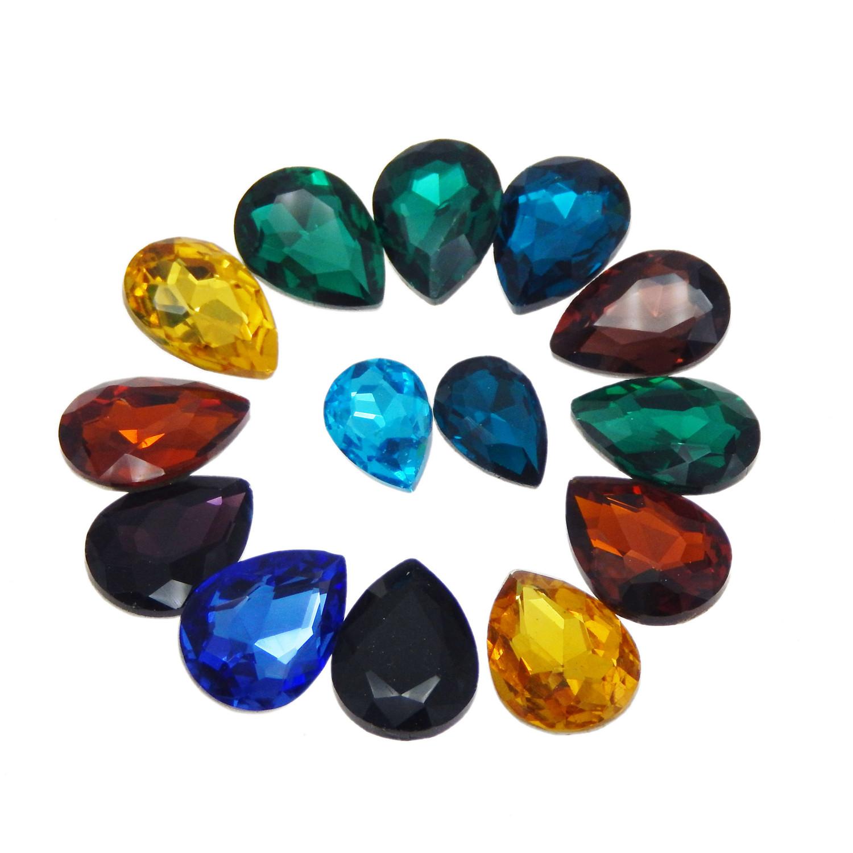 20pcs//pack Assorted Glass Glass Water Drop Rhinestone Cabochon Flatback Crafts