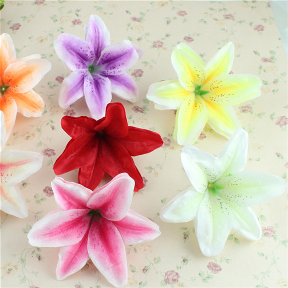 10 Pcs Artificial Fabric Flowers Petals Lily Flower Heads Floral