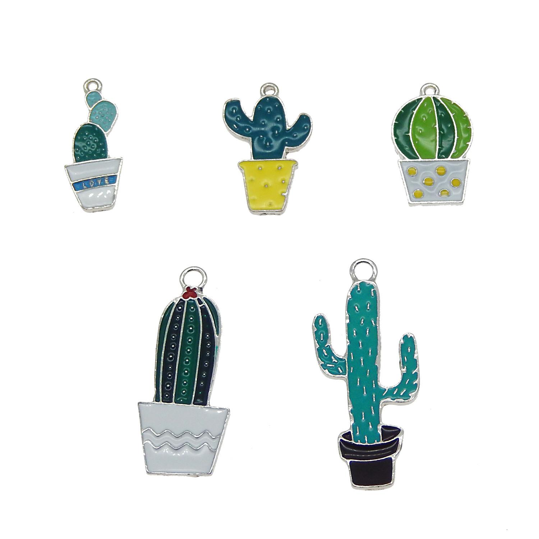 10Pcs Mixed Enamel Charms Cat Cactus Tower Pendants Beads DIY Earring Bracelet