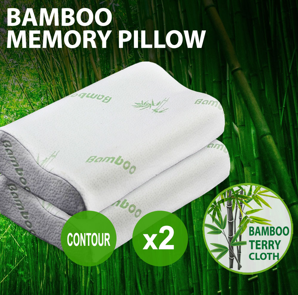 2x Luxury Soft And Hard Contour Bamboo Pillow Memory Foam