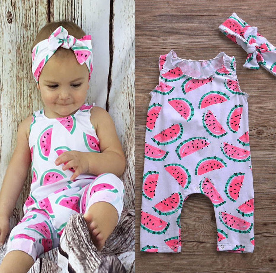 AUSeller Watermelon Toddler Baby Girl Sleeveless Bodysuit Romper Jumpsuit Outfit | eBay
