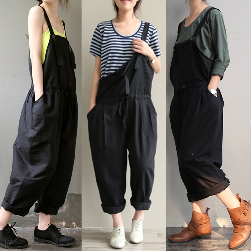 women loose jeans pants baggy overalls straps jumpsuit. Black Bedroom Furniture Sets. Home Design Ideas
