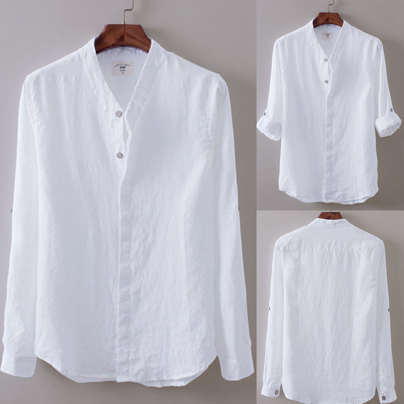 Mens White Linen Shirt | eBay
