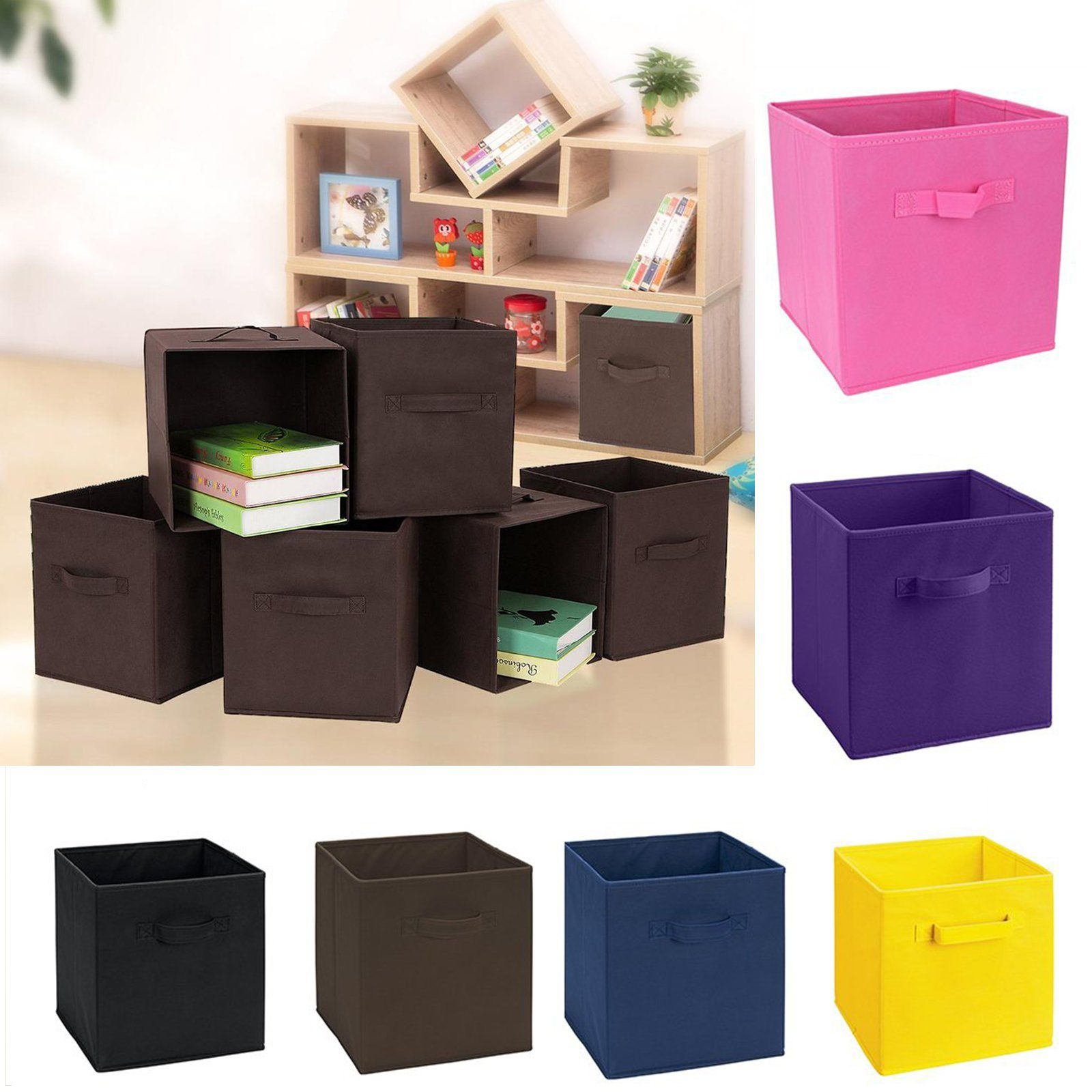 foldable storage collapsible folding box case home clothes organizer fabric cube ebay. Black Bedroom Furniture Sets. Home Design Ideas