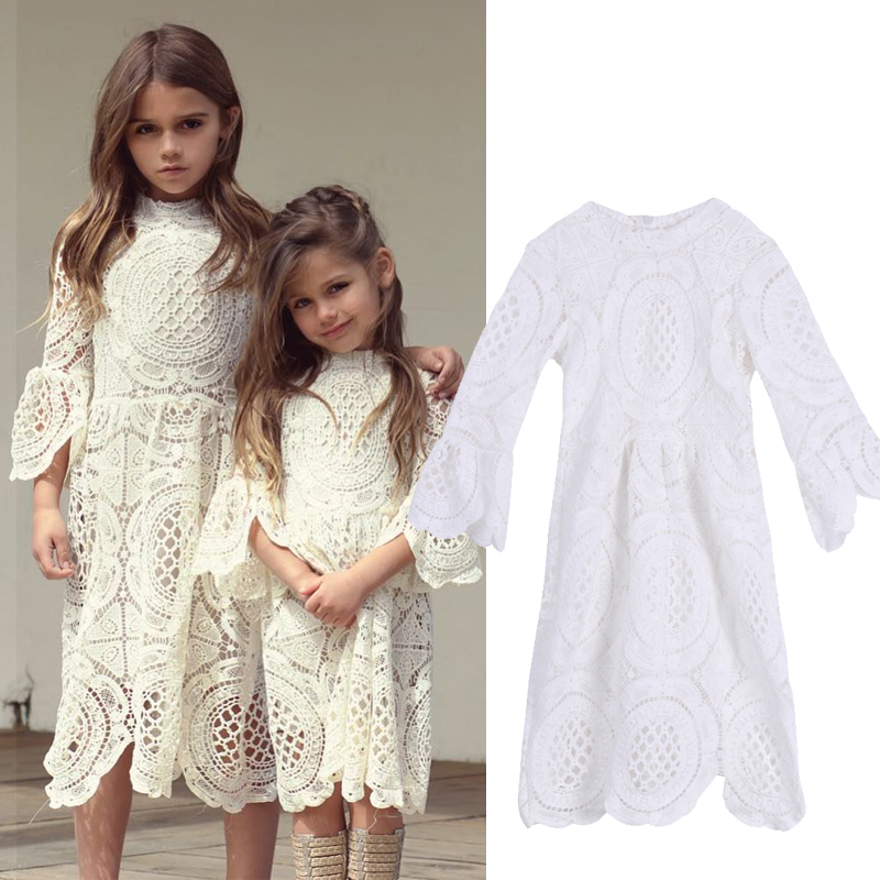 Details About Toddler Baby Kids Girls White Lace Dress Wedding Pageant Princess Party Dresses