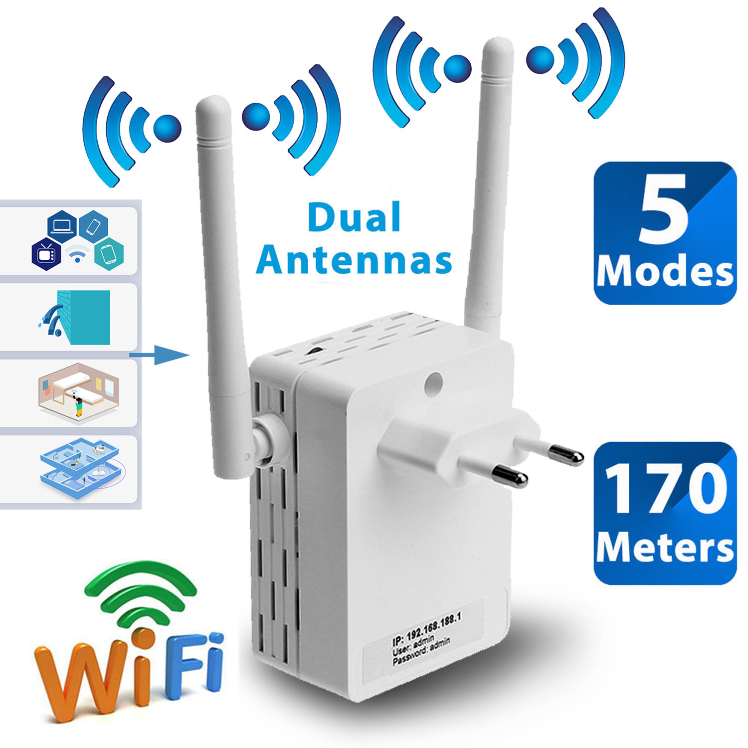 Wifi range extender wireless booster 300m home network - Wireless extender with ethernet ports ...