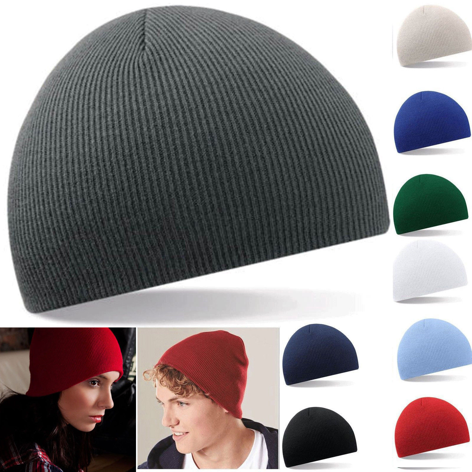 83cc3a23f9f29d Details about Beanie Plain Knit Ski Hat Skull Cap Cuff Warm Winter Blank  Colors Unisex Beany