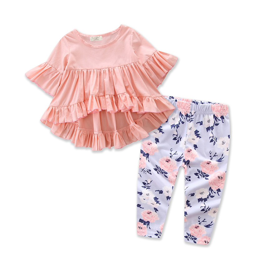 Toddler Kids Baby Girls Pink Outfits Set Clothes T-shirt Tops Pants Leggings