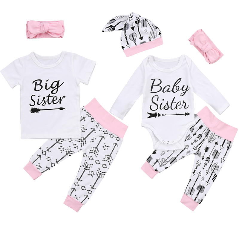6adf8122cbf16 Big Sister Little Sister T shirts Set Matching Sisters Romper Outfit ...