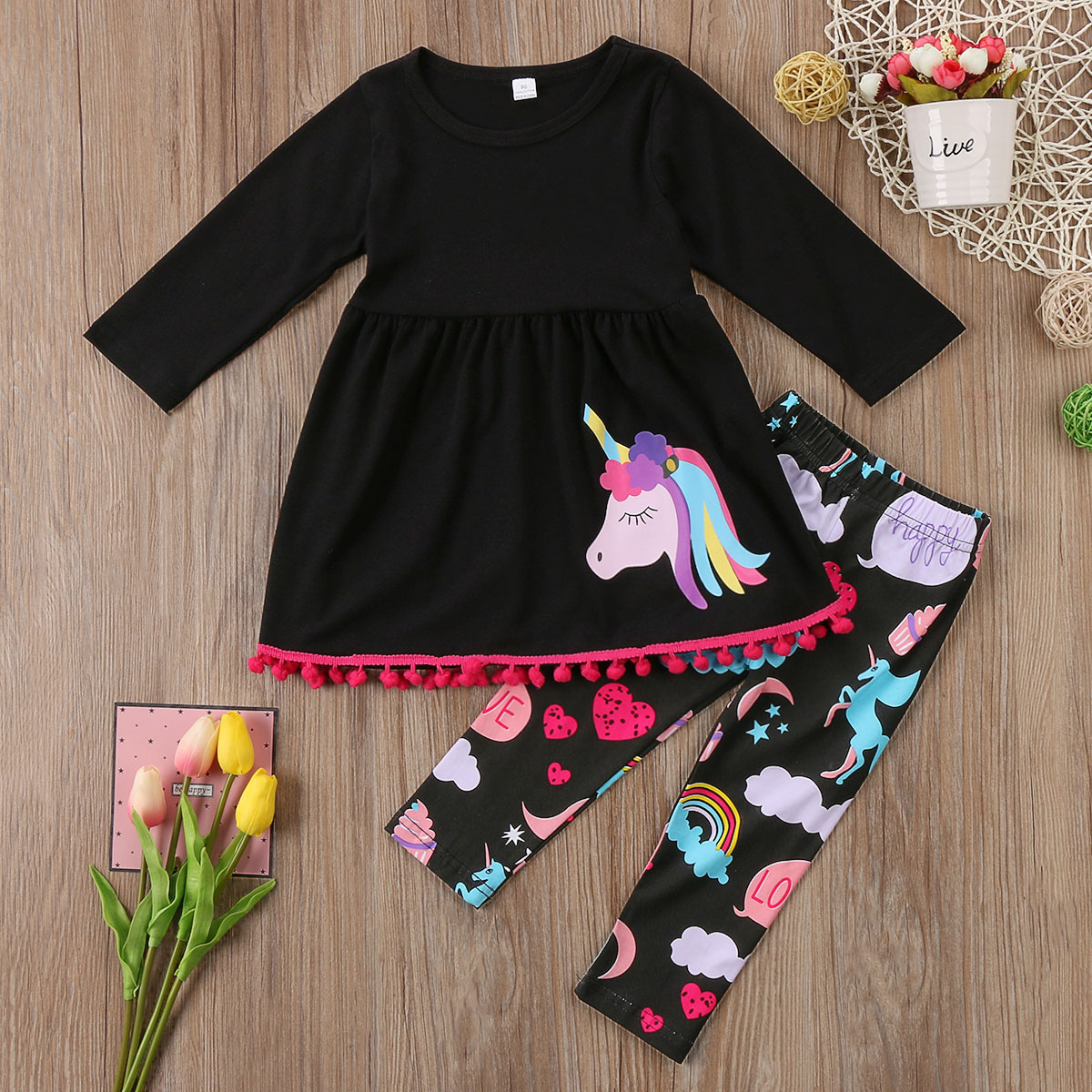 Unicorn Kids Baby Girls Outfits Clothes T shirt Tops Dress