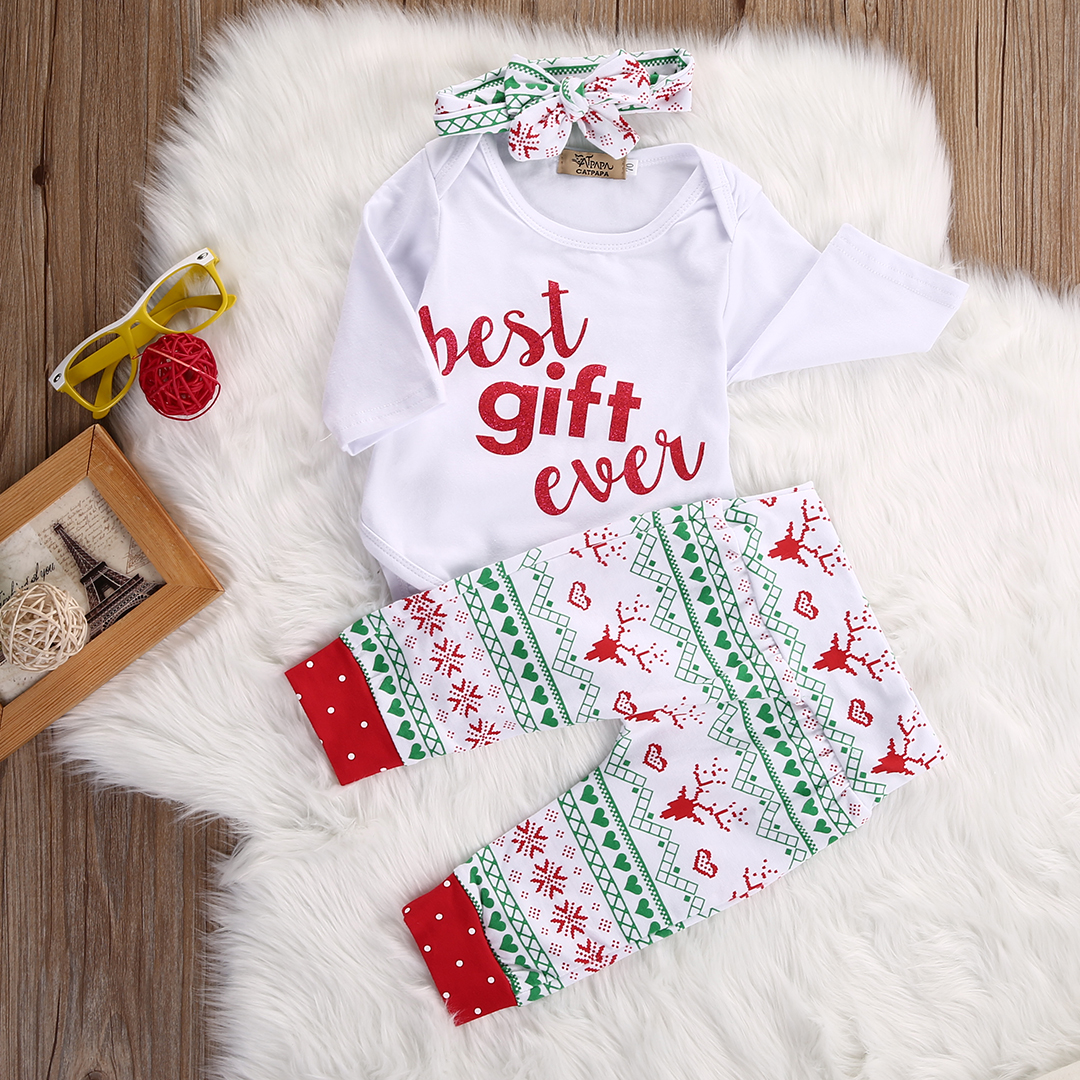Cute Christmas Reindeer Snowflake Baby Boy Girl Romper Leggings 3PCS ...