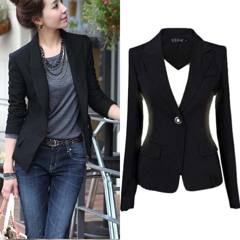 Blazers For Women: LADIES SMART FITTED BLAZER WOMENS SUIT JACKET CASUAL