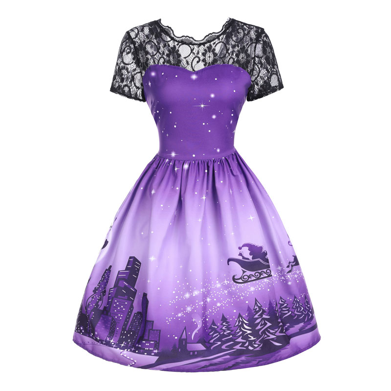 Women Girls Vintage Santa Christmas Dress Rockabilly Xmas Swing ...