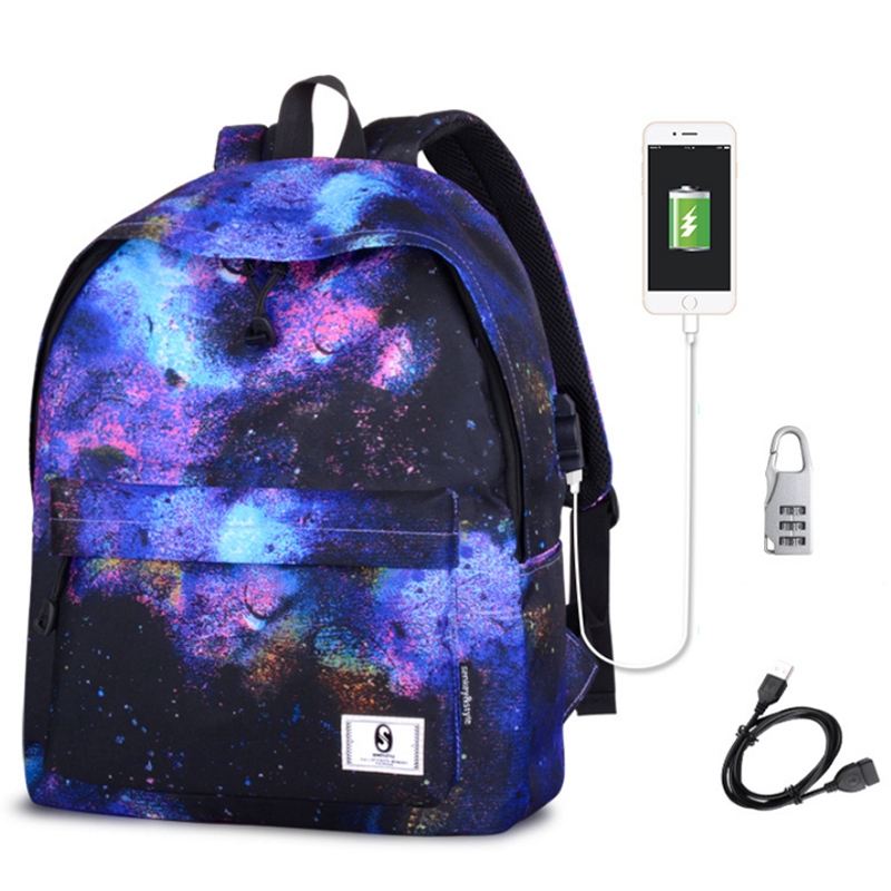 Galaxy School Bag Backpack Collection Canvas USB Charger ...