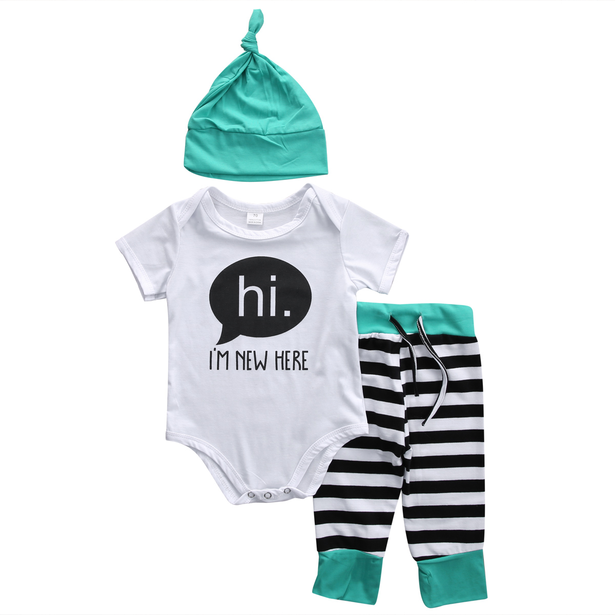 2019 Autumn Winter Cute Newborn Baby Girls Clothes Cotton Tops Short Sleeve Romper Jumpsuit Striped Leggings Pants Hat Outfits Set From