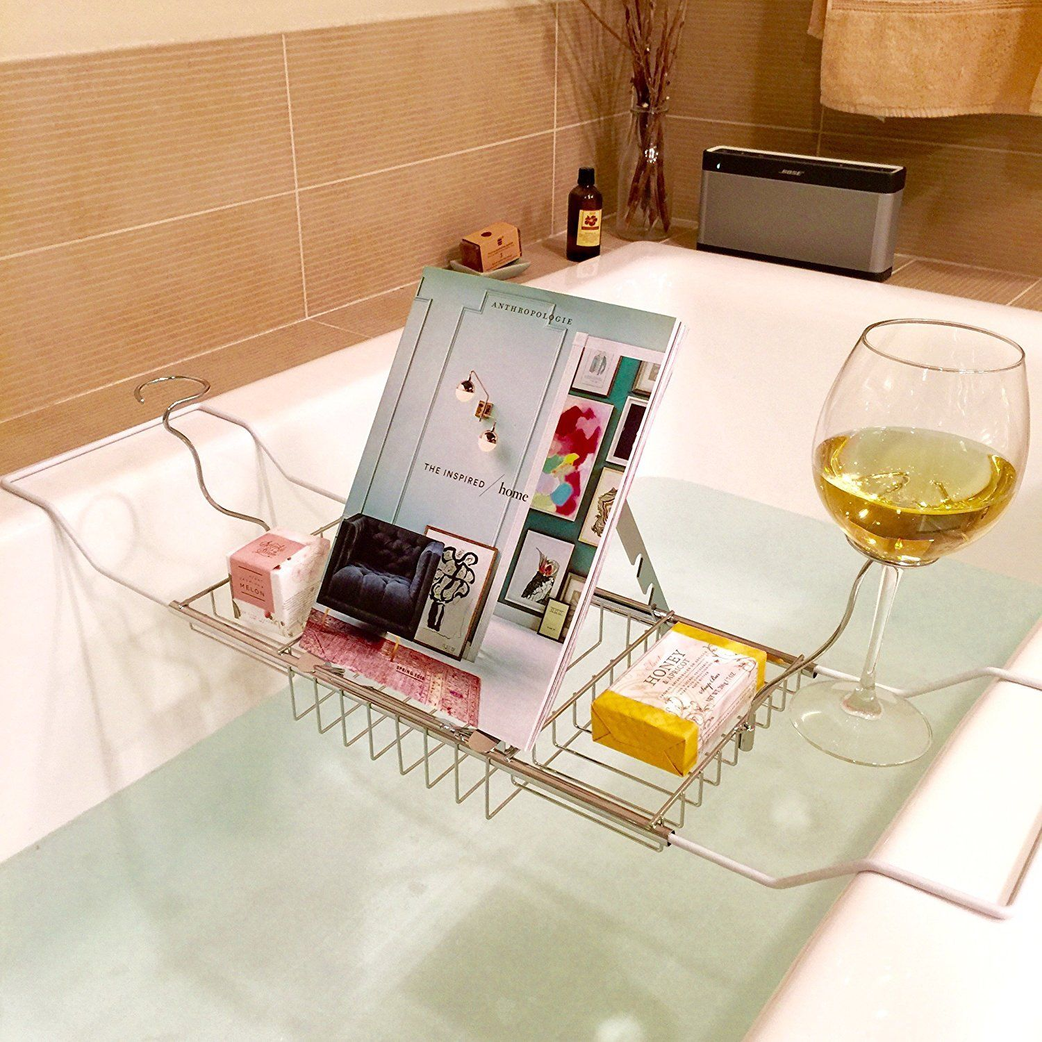 Bath Tub Caddy Tray Read Book Stand Wine Glass Candle Holder Rack ...