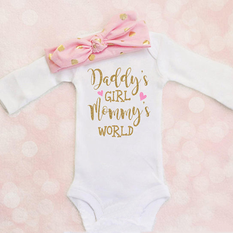 2a5c0b39fee Details about Newborn Infant Baby Girls Clothes Mommy s Romper Bodysuit +  Headband Outfits Set