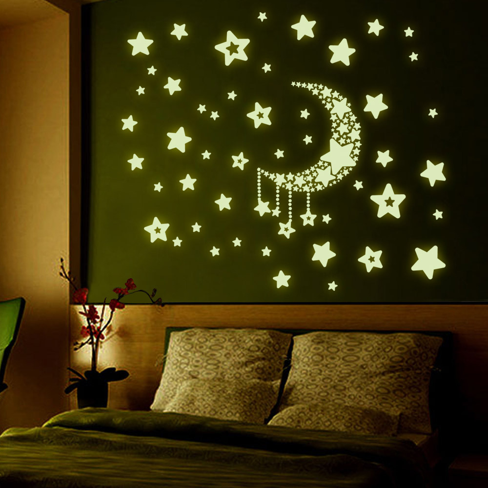 Fluorescent Moon And Stars Wall Sticker Room Decoration For Living