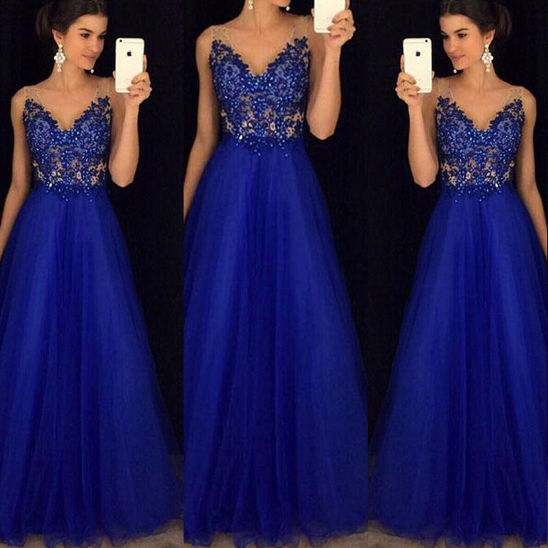 Women\'s Mesh Long Formal Wedding Evening Ball Gown Party Prom ...