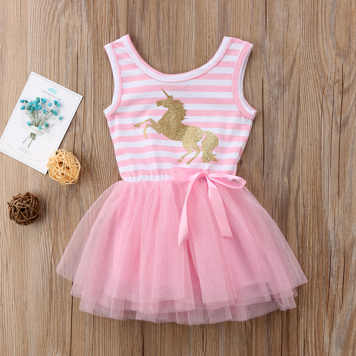 558cb9bc52cb8 Details about Canis Toddler Girls Dress Clothes Unicorn Party Tulle Tutu  Dresses Sundress Xmas