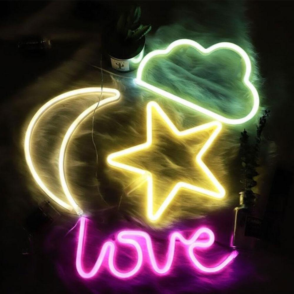 USA LED Neon Sign Light Love Lightning Cloud Moon Star Wall Poster ...