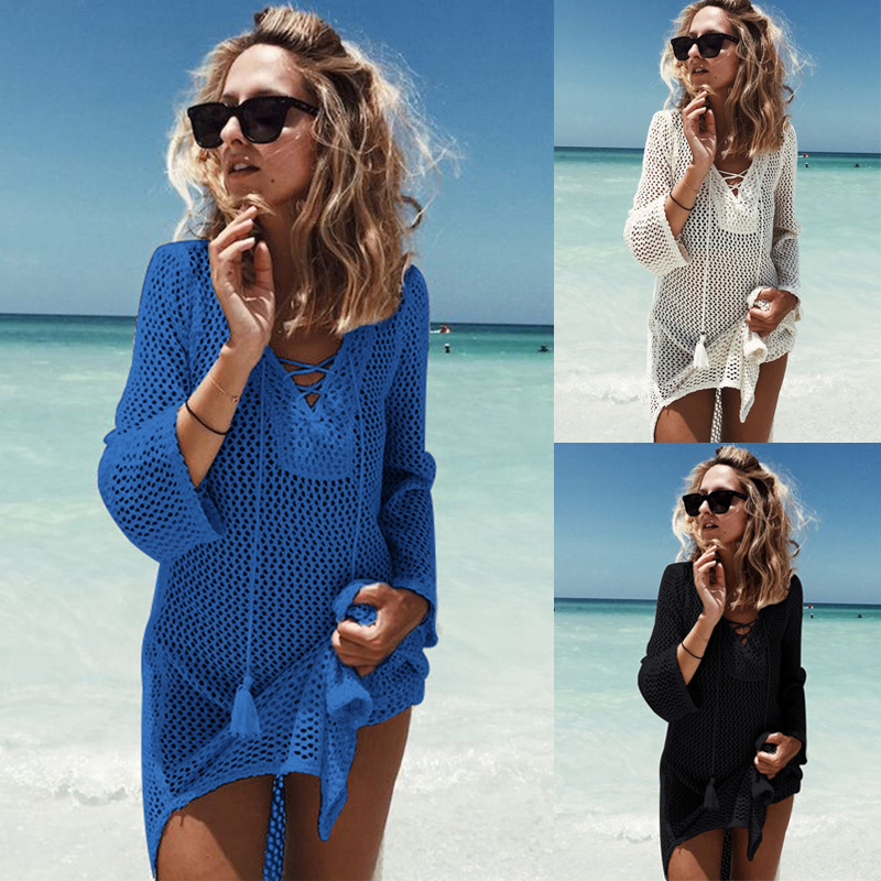 b9a8670d41 Details about UK Women Sexy Crochet Mesh Swimwear Summer Beach Dress Sheer Bikini  Cover Up Hot