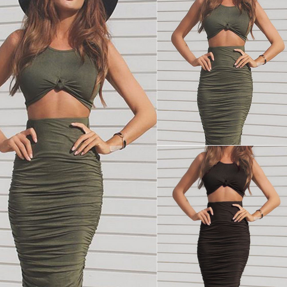 f033a749ed1 Women 2 Piece Bodycon Two Piece Crop Top and Skirt Set Bandage Dress ...