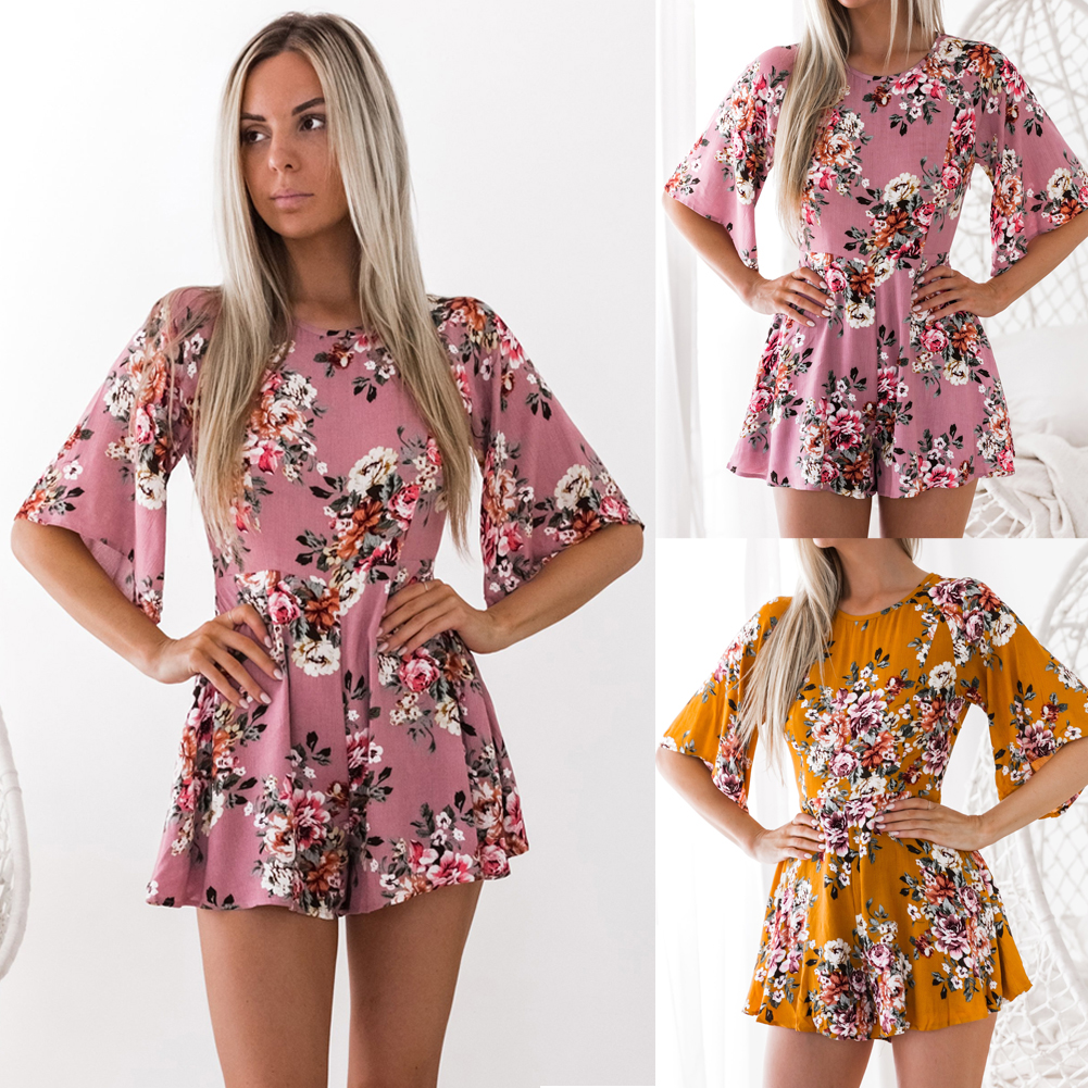 e0cdcaa61563 Details about New Women Short Playsuit Jumpsuit Beach Summer Holiday Shorts  Romper Mini Dress