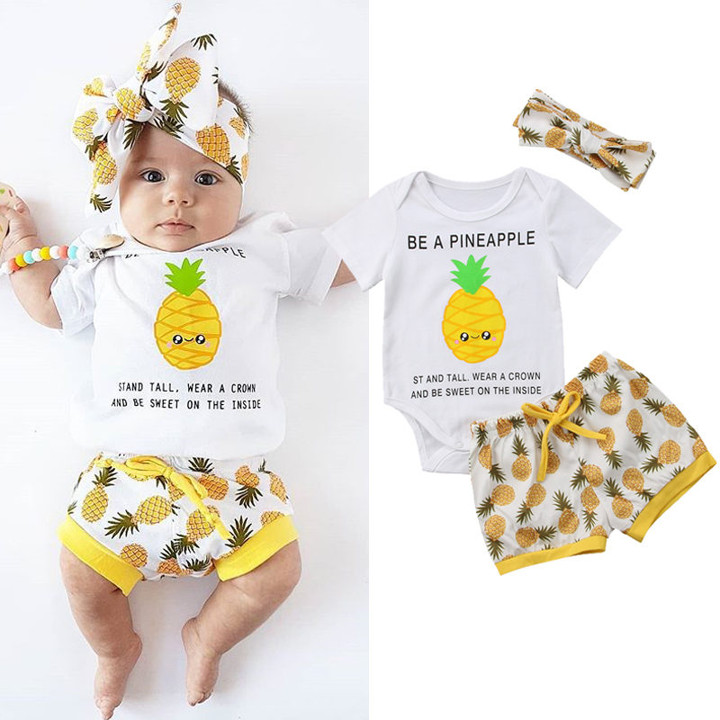 cbcd22090c5 Details about BE A PINEAPPLE Baby Boy Girl Funny Clothes Cotton Romper  Bodysuit Pants Outfits
