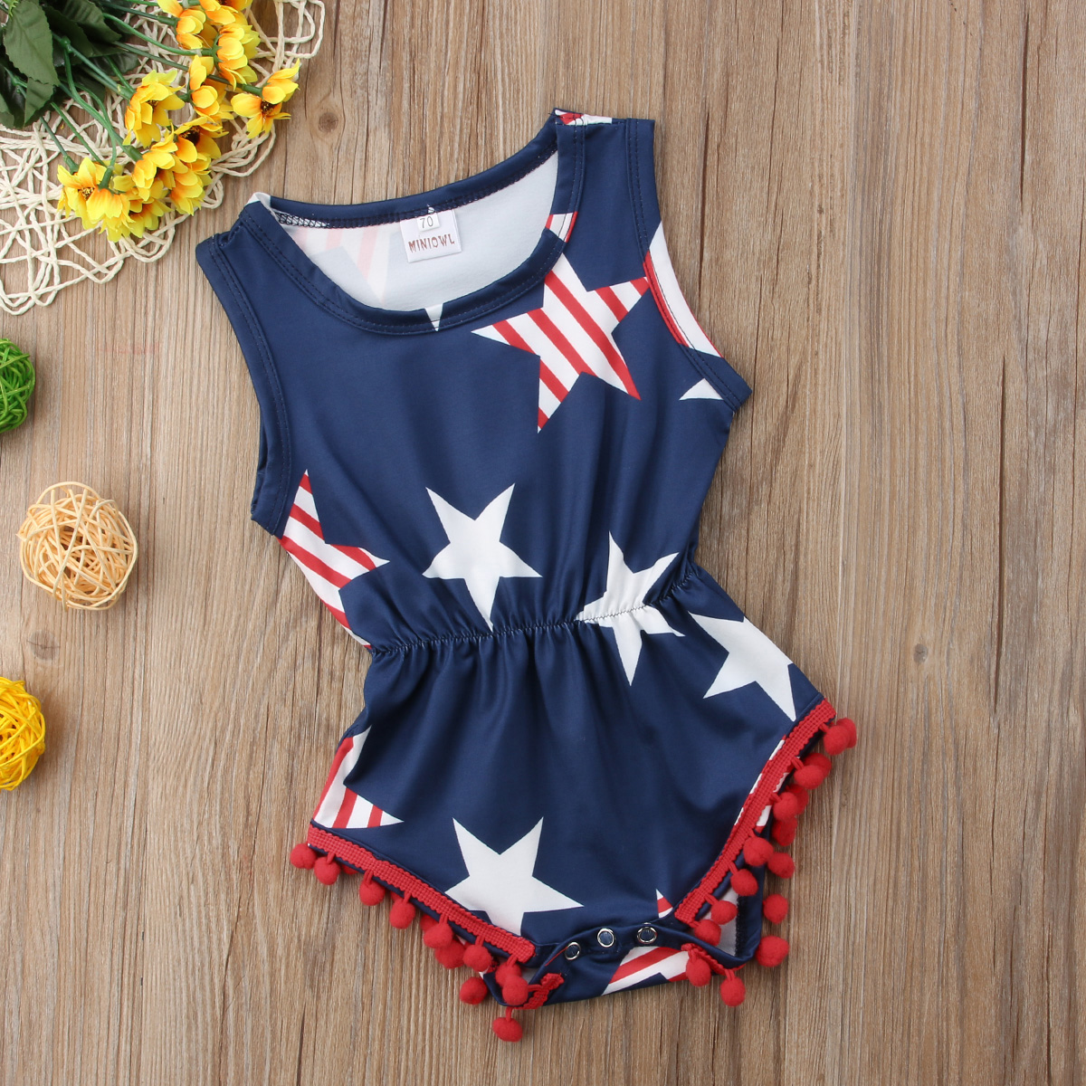 32a54fe567b US Fourth of July Newborn Baby Girls Romper Jumpsuit Playsuit Bodysuit  Outfits