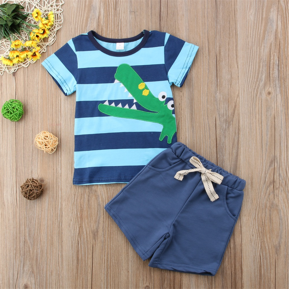 112bd0eca9af Details about 2pcs Summer Baby Boys T-shirt Tops+Pants Trousers Outfits  Toddler Kids Clothes