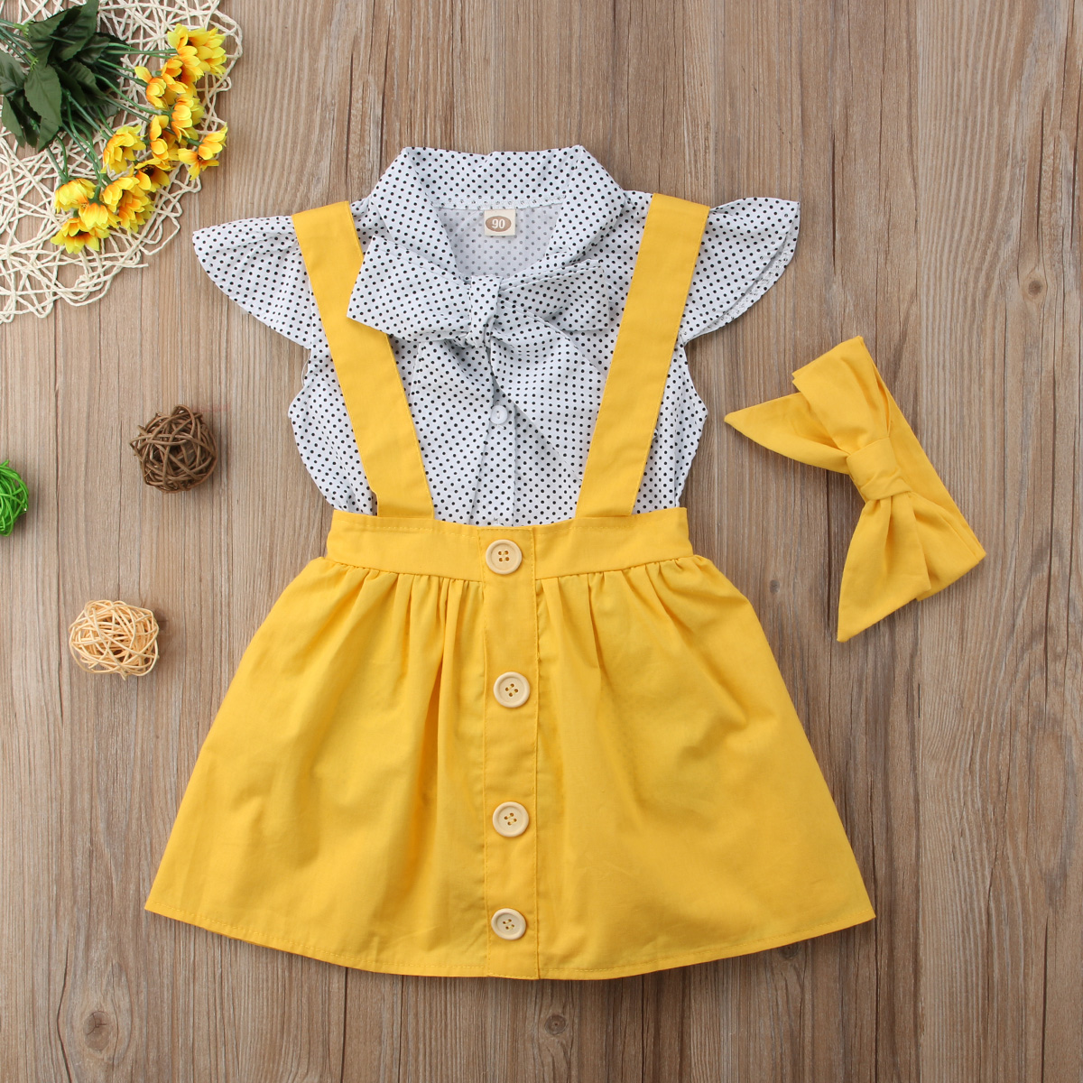 Headband+Romper 3Pcs Clothes Outfits US Baby Toddler Girls Kids Overalls Skirt