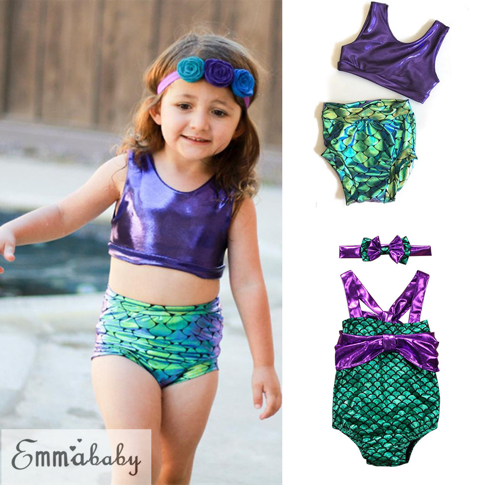e2827315f2 Kids Baby Girls Mermaid Sequin Swimsuit Swimwear Bathing Suit ...