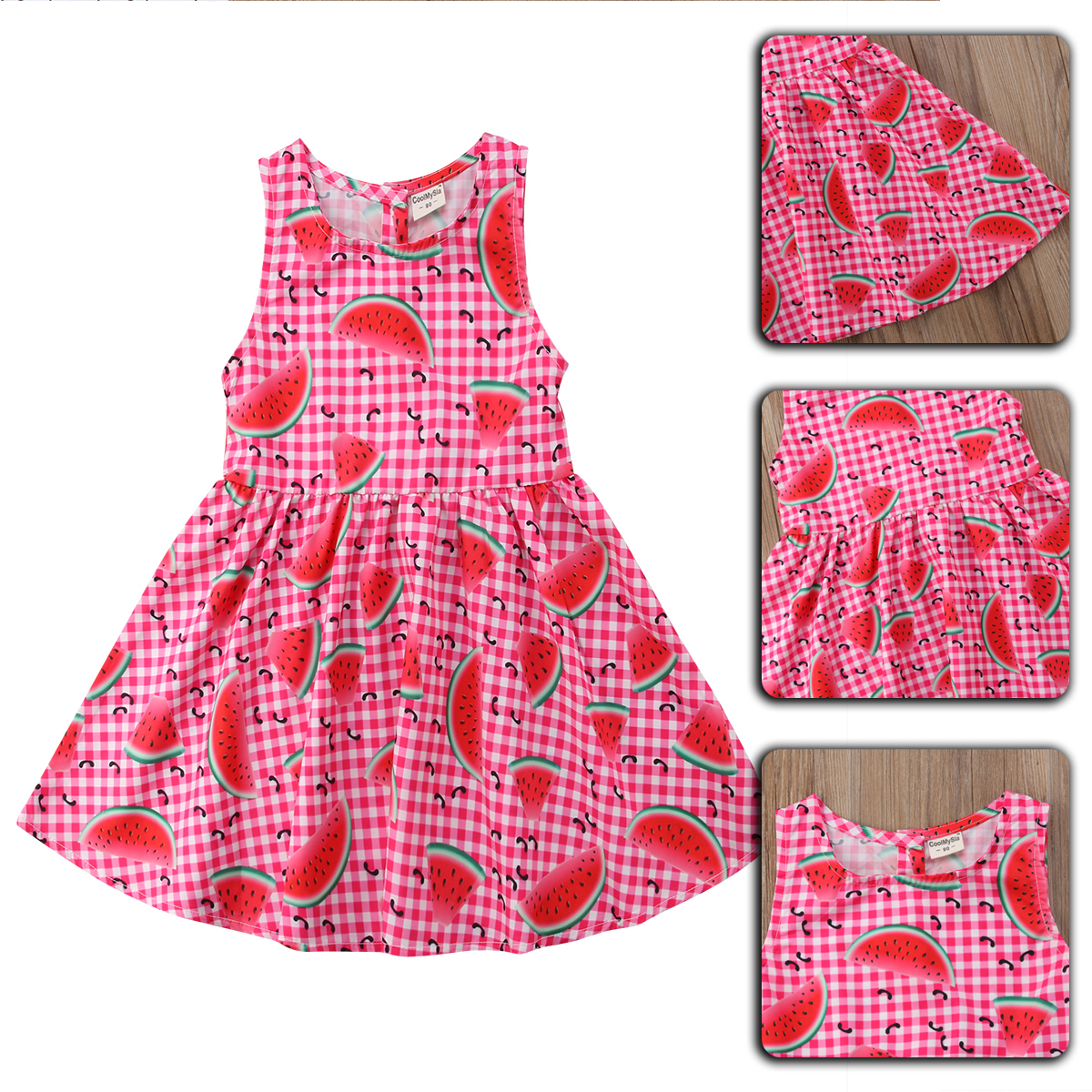 2eb65f074938 Details about Girl Kids Dress Watermelon Printing Skirt Summer 1-5 Years Summer  Party Dresses