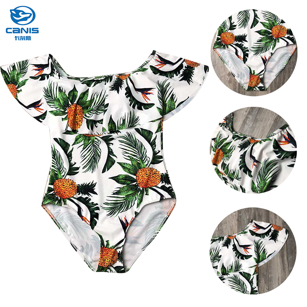 4e6abd3cda72a Details about Mother Daughter Pineapple One Piece Monokini Swimsuit Family  Matching Swimwear