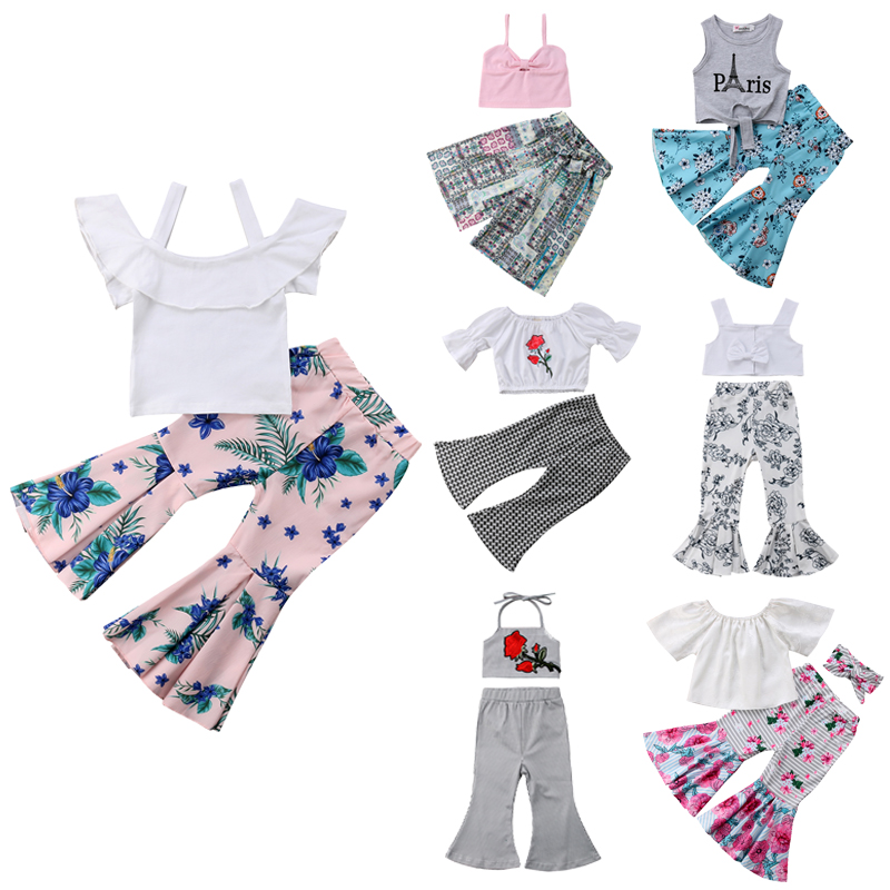 8ceab155d613 Details about Kids Baby Girl Off Shoulder Crop Tops Bell-bottoms Pants  Headband Outfit Clothes
