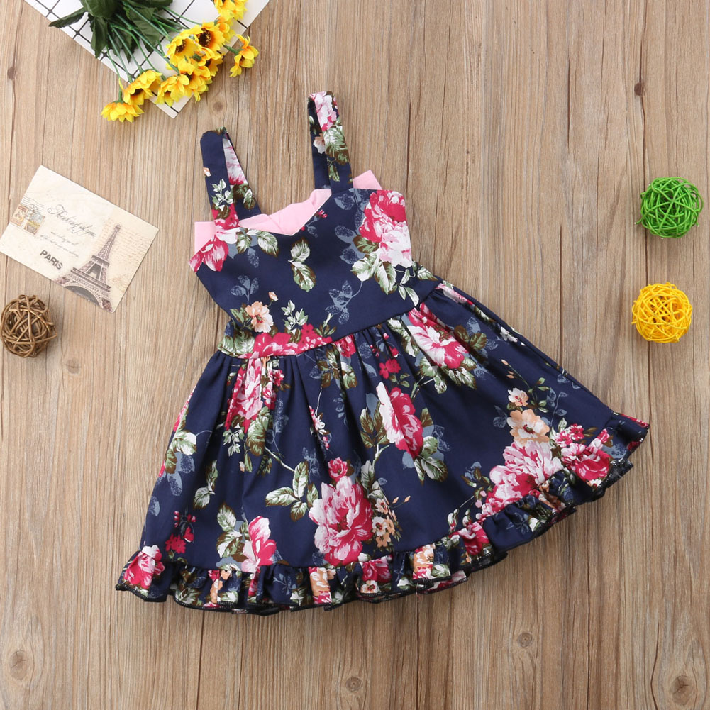 f8286eb0ea525 Details about Toddler Kids Baby Girls Princess Dress Floral Party Wedding  Tutu Dresses Clothes