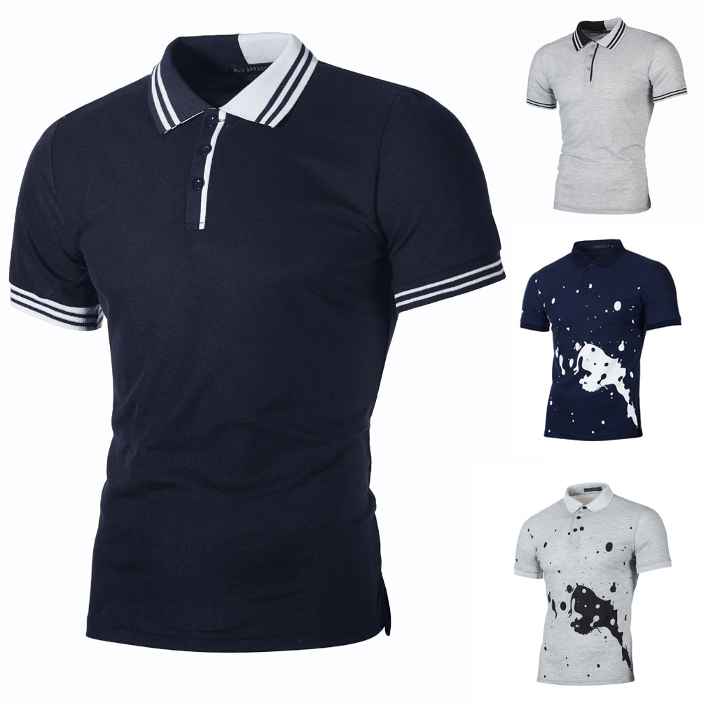 c9c43391ad9 Details about New Fashion Mens Stylish Casual T-Shirts Slim Fit Short  Sleeve POLO Shirt Tops