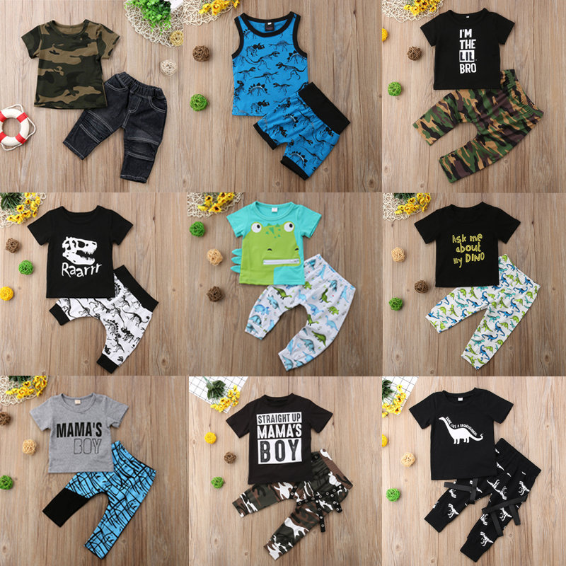 32af05e00dd7 2pcs Toddler Kids Baby Boy Summer Outfit Clothes T-shirt Top+Shorts ...