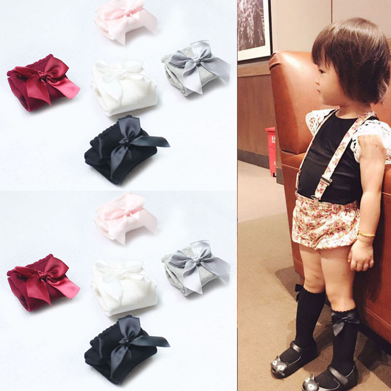 7bed3ac93b3cf Details about UK Infant Baby Girls Knee High Stockings Cotton Bow Knee  Tight Ribbon Socks Set