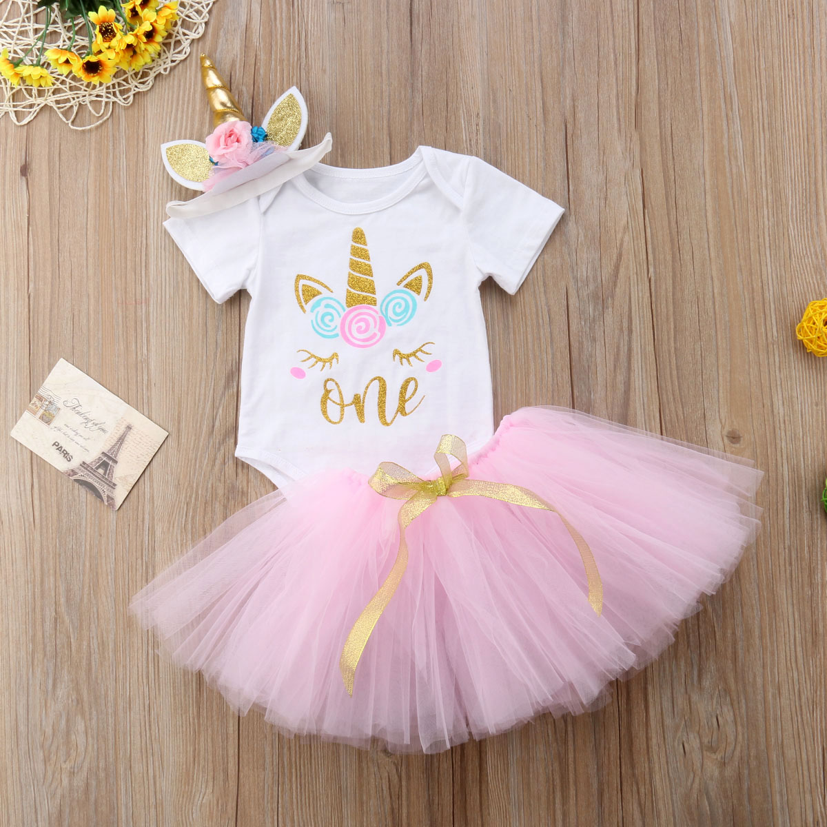 dcaad2f6d Details about US Stock Toddler Baby Girls Unicorn Romper Tutu Skirt Dress  Headband Outfit Set