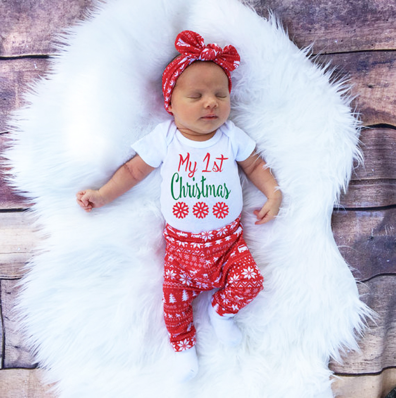 Newborn kid baby boy girl christmas clothes tops romper pants hat 3pcs outfit uk ebay