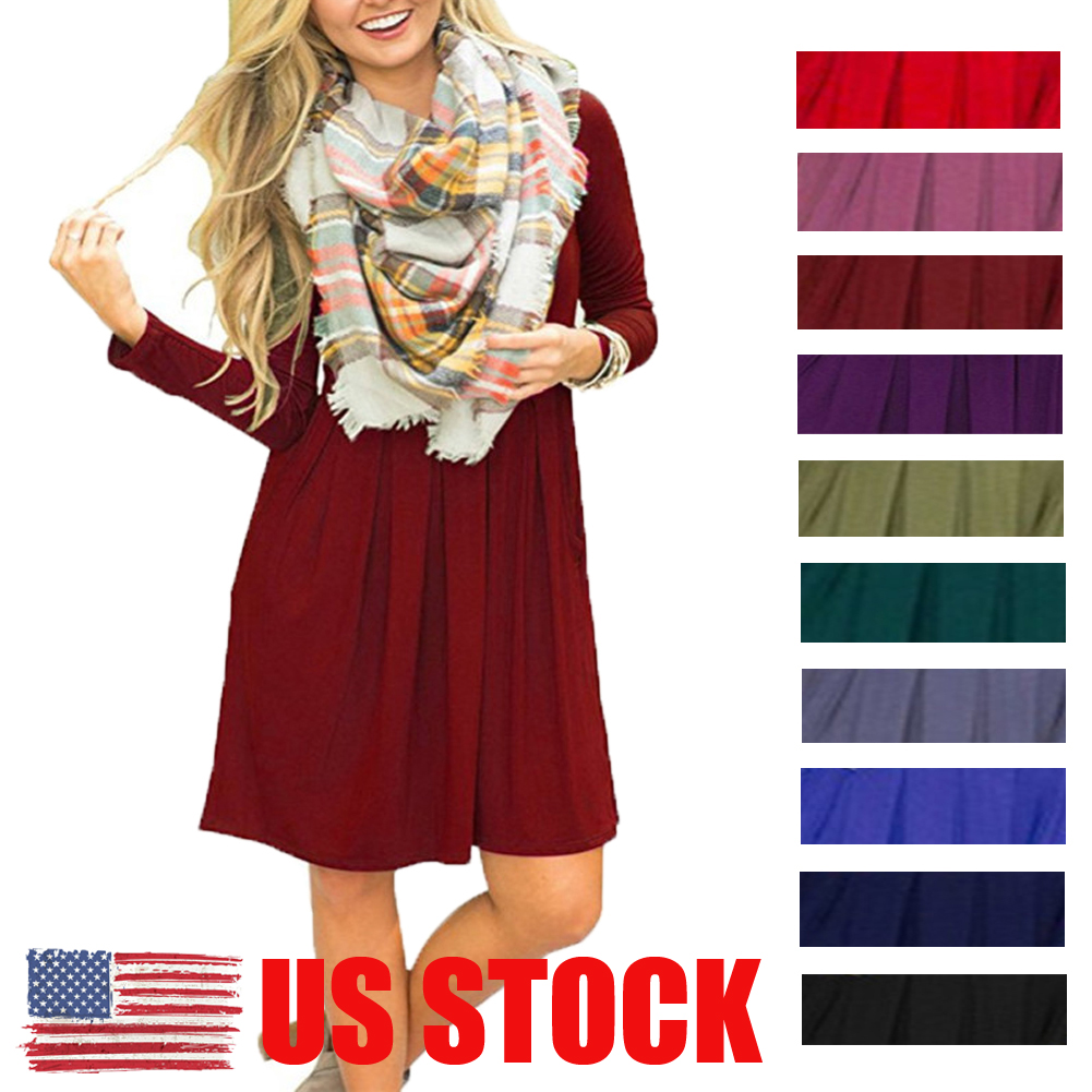 Us Plus Size Womens Summer Casual Swing Sundress Long Sleeve Loose T