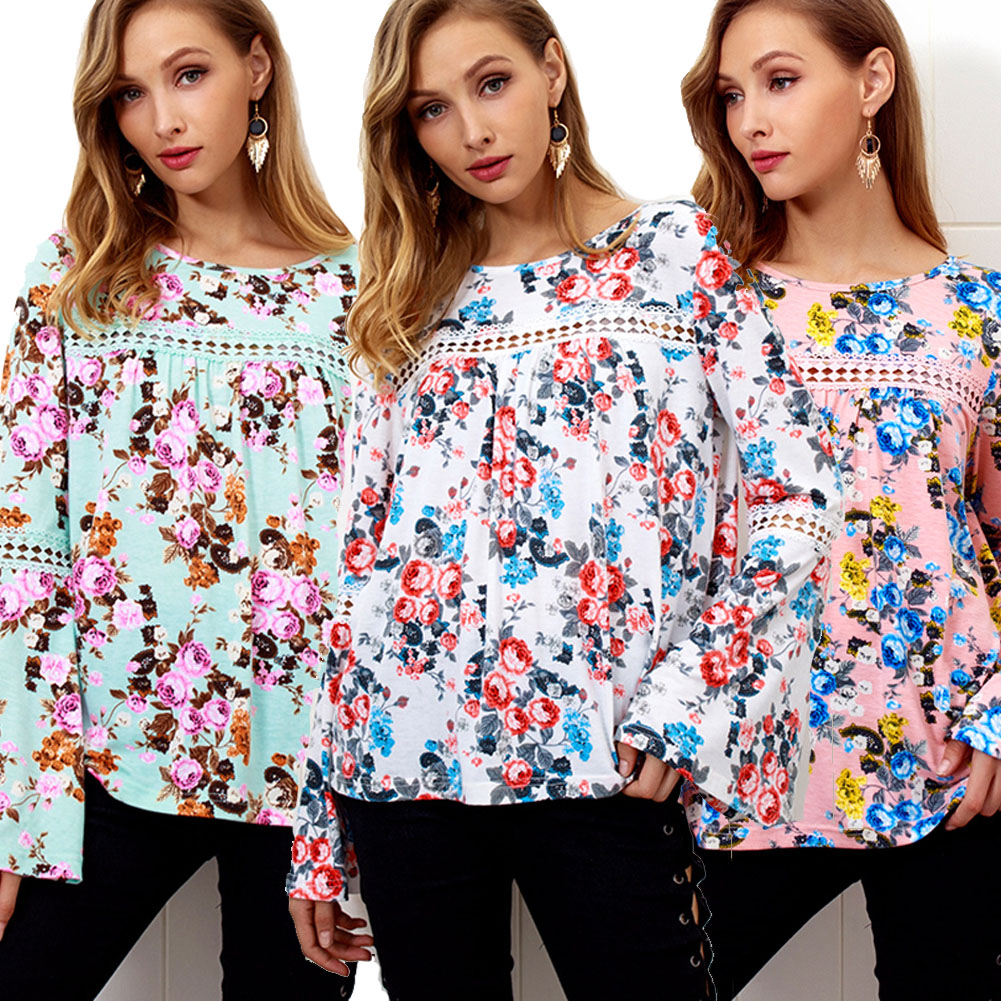 deff62c8c5a5 Details about Summer Womens Casual Tops Blouse Long Sleeve Crew Neck Floral  T-Shirt Ladies B